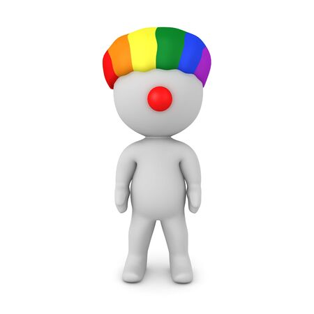 3D Character wearing rainbow clown wig and red nose. 3D Rendering isolated on white. 스톡 콘텐츠
