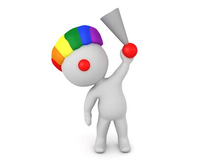 3D Clown holding up honking horn. 3D Rendering isolated on white. 스톡 콘텐츠 - 130054910
