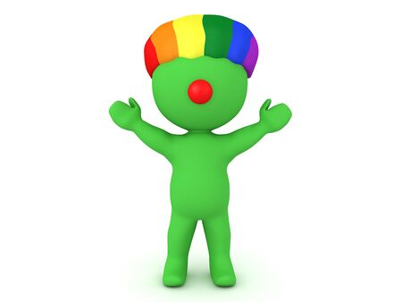 3D Happy green clown with rainbow wig and red nose. 3D Rendering isolated on white. 스톡 콘텐츠