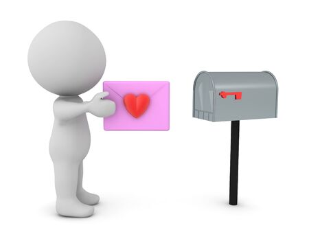 3D Character putting love letter in mailbox. 3D Rendering isolated on white.