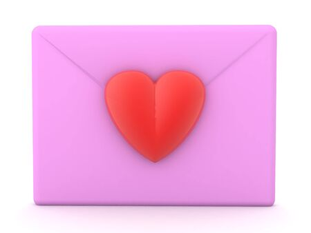 3D Rendering of pink love letter. 3D Rendering isolated on white.