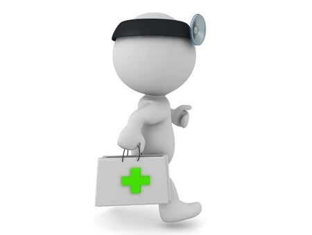 3D Paramedic running with first aid kit. 3D Rendering isolated on white.