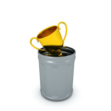 3D Rendering trophy thrown in trash can. 3D Rendering isolated on white.