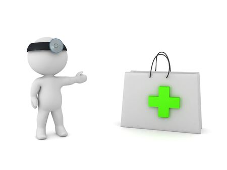 3D Doctor showing medical first aid kit. 3D Rendering isolated on white.
