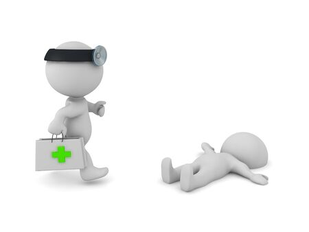 3D Paramedic rushing towards injured person. 3D Rendering isolated on white.