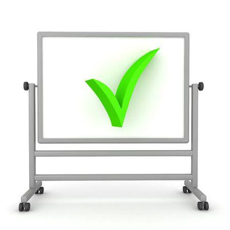 3D Rendering of green checkmark on whiteboard. 3D Rendering isolated on white. Stok Fotoğraf