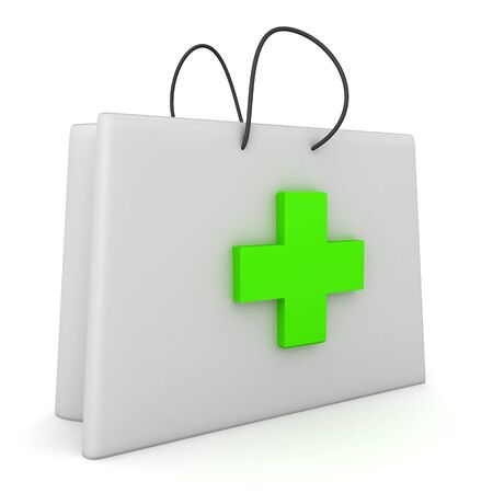 3D Rendering of first aid kit with green cross. 3D Rendering isolated on white.