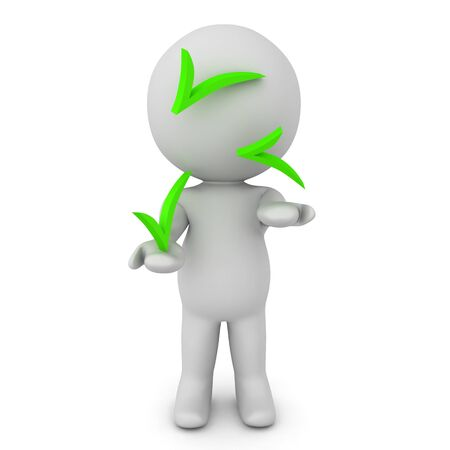 3D Character juggling green checkmarks. 3D Rendering isolated on white.