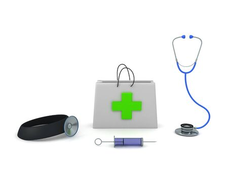 3D Rendering of medical objects. First aid kit, stethoscope, doctor head light and syringe. 3D Rendering isolated on white. Stock fotó