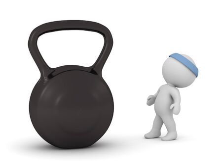 3D character with an exercise headband looking up at a huge kettleball. Isolated on white background.