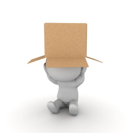 Stressed 3D Character with box on his head. 3D Rendering isolated on white.