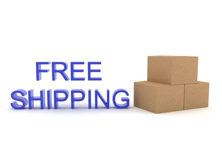 3D Free shipping text with boxes next to it. 3D Rendering isolated on white.
