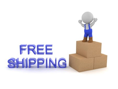 3D Delivery man next to free shipping sign. 3D Rendering isolated on white.