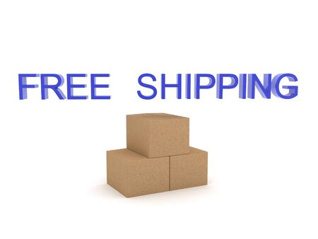 Three 3D Boxes with free shipping text above. 3D Rendering isolated on white. Zdjęcie Seryjne