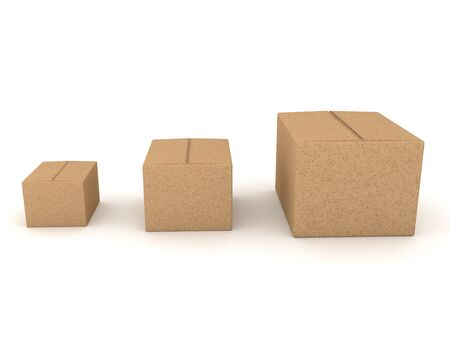 3D Rendering of increasingly larger boxes. 3D Rendering isolated on white.