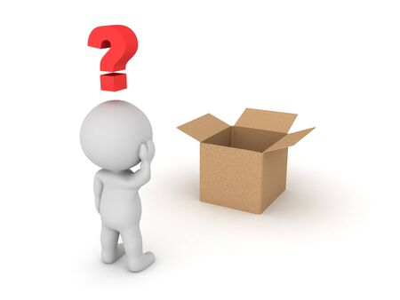 3D Character looking curious at opened box. 3D Rendering isolated on white.