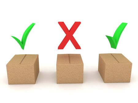Three 3D Boxes, two have green checkmarks, another has red x above. 3D Rendering isolated on white.