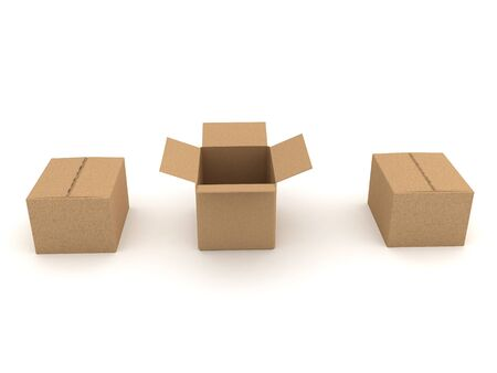 Three 3D boxes, the one in the middle is opened. 3D Rendering isolated on white. Zdjęcie Seryjne