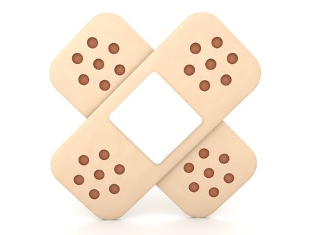 3D Rendering of two bandages. 3D Rendering isolated on white.