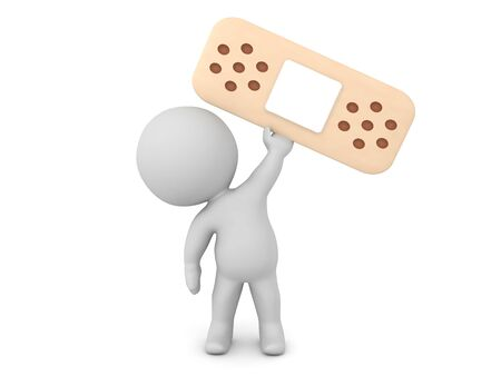3D Character holding up a plaster-aid. 3D Rendering isolated on white.