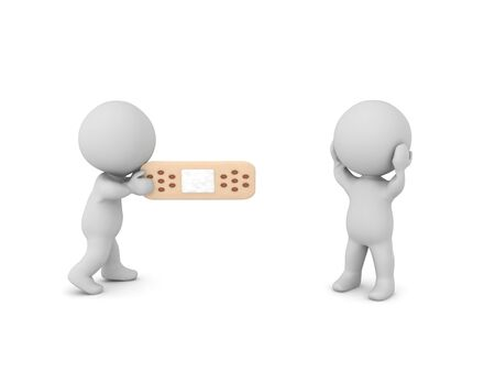 3D Character offering banage to a hurt person. 3D Rendering isolated on white.