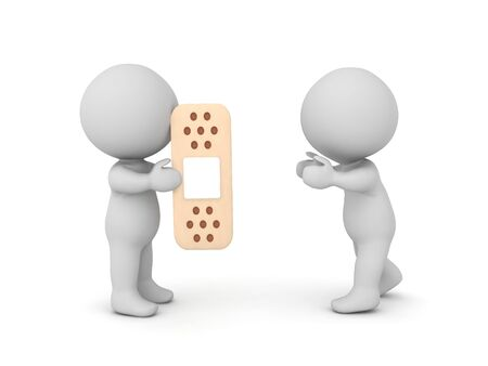 3D Character giving a bandage to another character. 3D Rendering isolated on white.