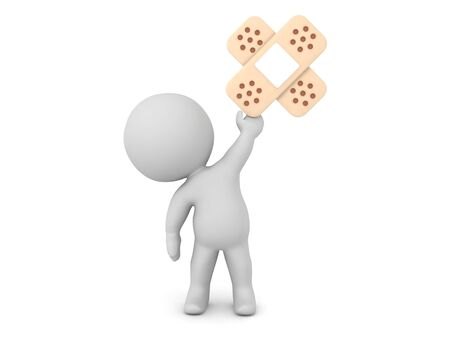 3D Character holding up double aid. 3D Rendering isolated on white. Stock Photo - 134092648