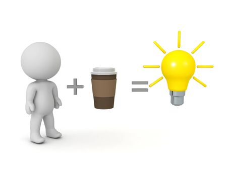 Drinking coffee boosts creativity concept image. 3D Rendering isolated on white. Banco de Imagens