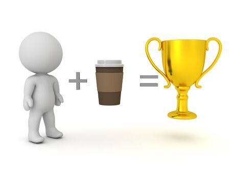 3D Rendering showing that drinking coffee leads to succes. 3D Rendering isolated on white.