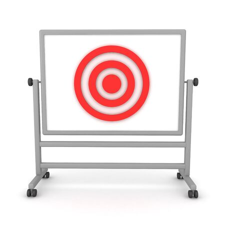 3D Rendering of target placed on whiteboard. 3D Rendering isolated on white.