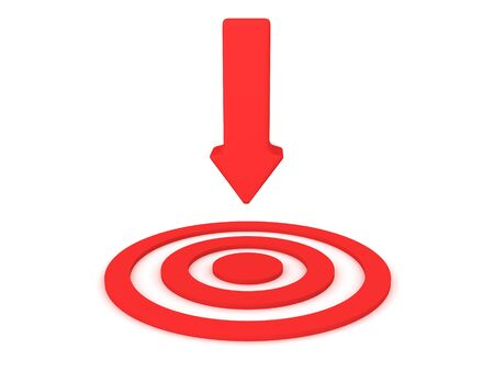 3D Red arrow pointing at target. 3D Rendering isolated on white.