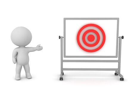 3D Character showing red target on whiteboard. 3D Rendering isolated on white.