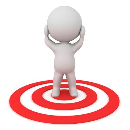 Stressed 3D Character standing on red target. 3D Rendering isolated on white.