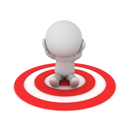 Stressed 3D Character sitting on red target. 3D Rendering isolated on white.