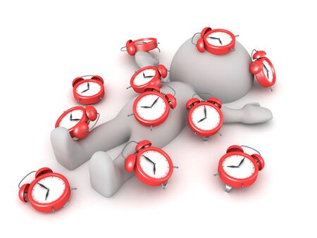 3D Character burried under too many alarm clocks. 3D Rendering isolated on white.