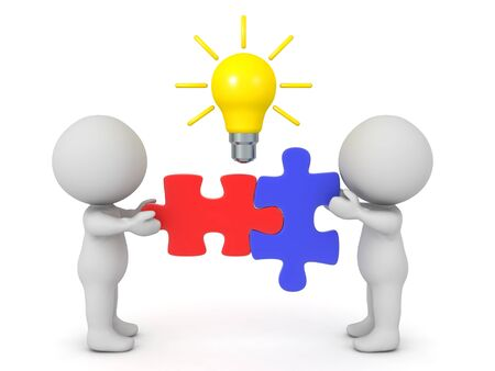 Two 3D Character connecting two puzzle pieces. Above there is a lightbulb symbolizing a new idea.