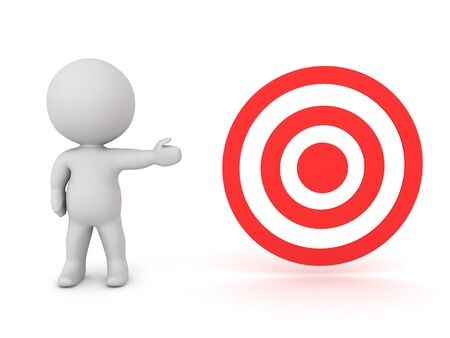 3D Character showing red target. 3D Rendering isolated on white. Stok Fotoğraf