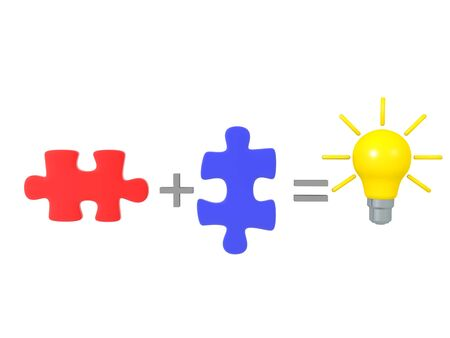 Combining two puzzle pieces creates a great idea. 3D Rendering isolated on white.