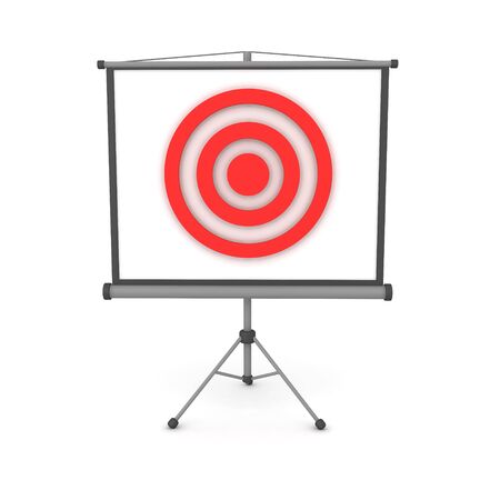 3D Red target on projector screen. 3D Rendering isolated on white. Stok Fotoğraf