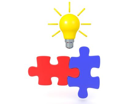 3D Rendering of two matching puzzle pieces with bright lightbulb above. Creativity and connecting the dots concept image.