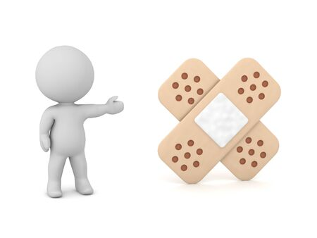 A small 3D character showing a regular bandage. Isolated on white background.