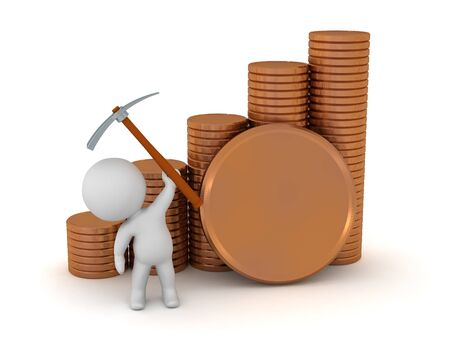 A 3D character with stacks of large coins and a pick-axe. Isolated on white background.