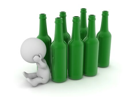 An upset 3D character is sitting down next to many beer bottles. Isolated on white background.