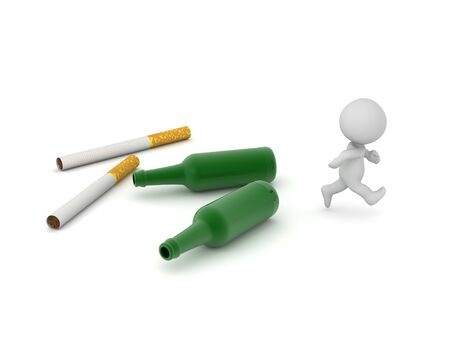 A 3D character is running away from alcohol bottles and cigarettes. Isolated. On white background.