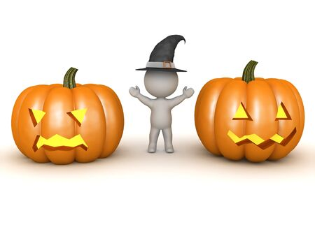 3D Witch next to two different carved pumpkins. 3D Rendering isolated on white.