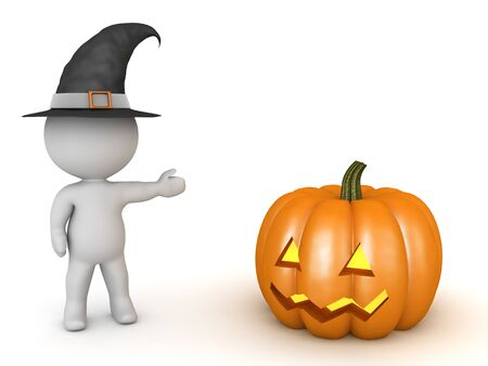 3D Character wearing witch hat and showing jack o latern pumpkin. 3D Rendering isolated on white.