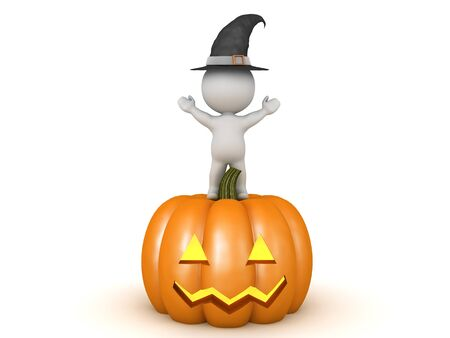 3D Witch standing on top of pumpkin jack o lantern. 3D Rendering isolated on white.