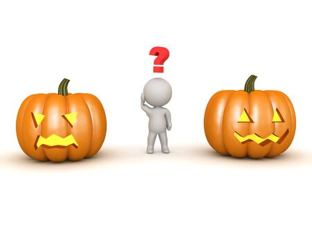 3D Character trying to  between  from two pumpkins. One jack o lantern has a happy face, the other an angry one. 3D Rendering isolated on white. Zdjęcie Seryjne
