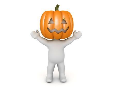 3D Character with arms raised has pumpkin on his head. 3D Rendering isolated on white. Stok Fotoğraf - 131681727