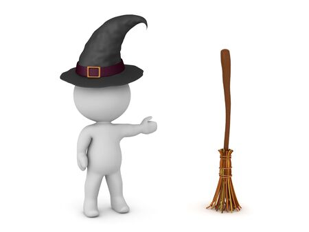 3D Witch showing a magical broom stick. 3D Rendering isolated on white. Stok Fotoğraf
